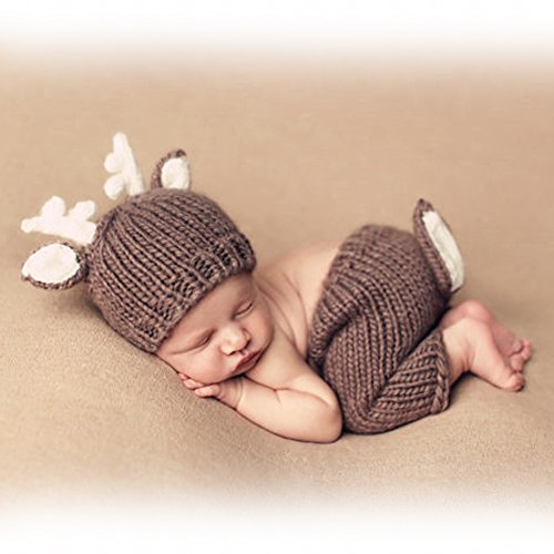 Ateid Neugeborene Fotografie Kostüm Kreativ Baby Fotoshooting Set Braun - Kostüm Neugeborene