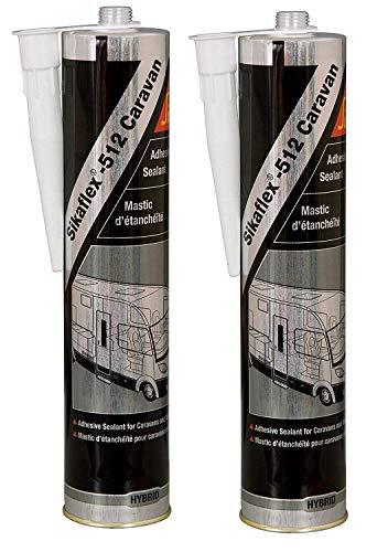 SIKAFLEX 512 Dichtmasse für Wohnwagen, Wohnmobil, 300 ml, Weiß, 2 Stück