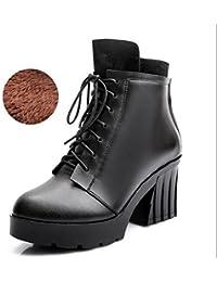 &ZHOU Botas otoño y del invierno botas cortas mujeres adultas 'Martin botas botas Knight A6-4 , black velvet , 38