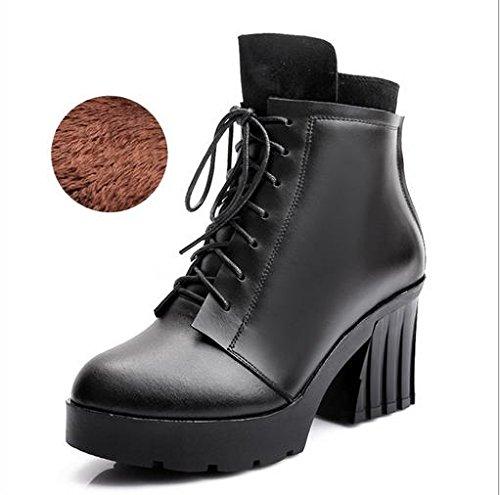 &ZHOU Bottes d'automne et d'hiver Bottes courtes pour femmes adultes Martin bottes bottes Chevalier A6-4 black velvet