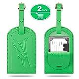 Gvoo valigia, 1Coppia 2pezzi in pelle bagagli Ciondolo borsa Ciondolo Luggage Tag contro perduto in pelle (Verde + verde)