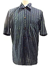 Chemise à manches courtes pour hommes - bleu et vert rayé - imprimé à la main avec des blocs de bois sculpté à la main- 100% coton - Commerce équitable