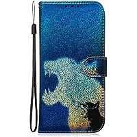 Fatcatparadise Funda para Samsung Galaxy A80 / A90 [con Protector Pantalla], Glitter Bling 3D PU Cuero Carcasa Cartera Billetera Tapa Flip Case Antigolpes Parachoques Case Cover (Leopardo)