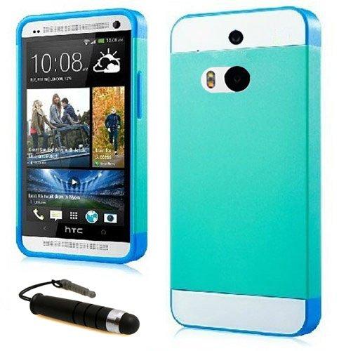 Castho 2 in 1 Zubehörsets Handyhülle Hybrid TPU Silikon Glitzer Strass Schutzhülle für HTC One M8 Hülle Hüllen Tasche Etui Protective TPU Harte Schale Handytasche mit Mini Touch Pen - Blau