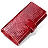 JEEBURYEE RFID Leder Geldbörse Clutch Portemonnaie Damen Portmonee mit Knopf Lange Groß Karten Brieftasche Damen Handtasche Geldbeutel für Frauen Geldbörsen Rot