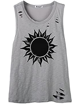 So'each Women's Sun Flower Graphic Hole Tee T-Shirt Cami Tank Top