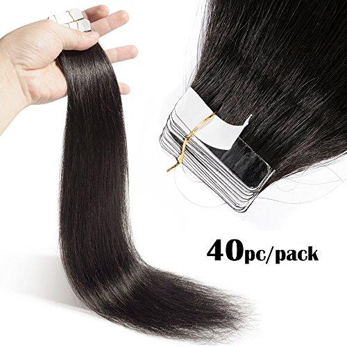 TESS Tape Extensions Echthaar Klebeband Haarverlängerung Remy Human Hair günstig 40 Tressen x 4 cm 100g-55cm(#1B Naturschwarz)