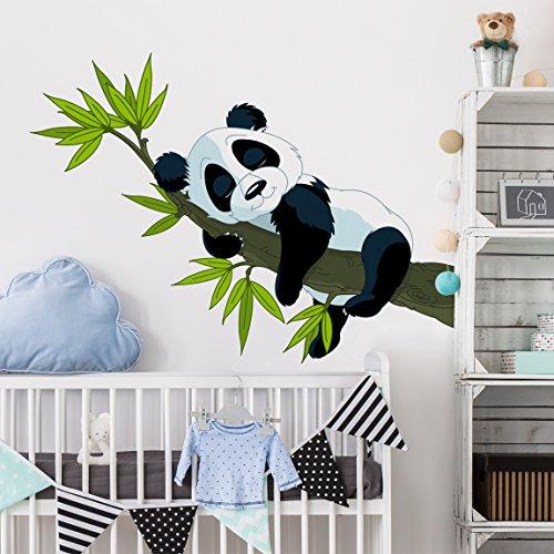 Preisvergleich Produktbild Wandtattoo Schlafender Panda Wandtatoo Wandsticker Kinderzimmer Bär Illustration, Größe: 70cm x 95cm