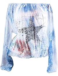 VJGOAL otoño de Las Mujeres Moda Casual Sexy Hombro impresión de la Estrella Diaria Camisa de