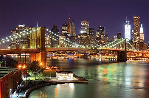 Fototapete New York Wandbild Dekoration Brooklyn Bridge bei Nacht leuchtende Wolkenkratzer Skyline Wall Street USA Deko | Foto-Tapete Wandtapete Fotoposter Wanddeko by GREAT ART (210x140 cm) -