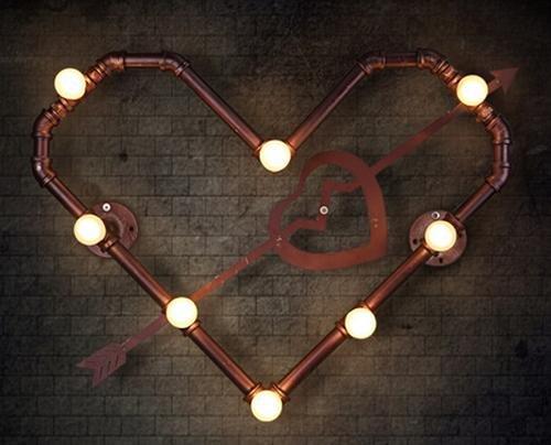 Ferro di lampada da parete di FWEF Armco retrò ristorante Pipa ad acqua industriale vento parete lampada personalità creativa Bar lampada da parete di amore 44 * 30cm