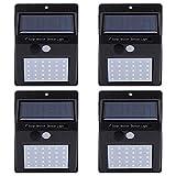 RuiDay Solarleuchten Außen, LED Solarlampe mit Bewegungsmelder Solar Wandleuchte Solarlicht Wasserdichte Solar Beleuchtung Solarbetriebene Kabelloses Sicherheitslicht (4Pcs)
