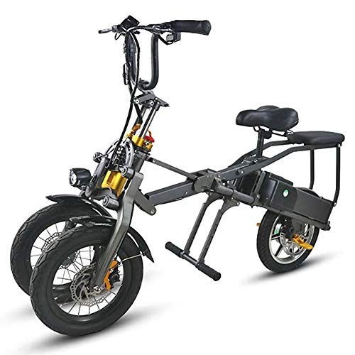 LHLCG Bicicleta eléctrica Plegable de Tres Ruedas - Aleación de Aluminio de aviación de Bicicleta eléctrica Plegable con batería de...