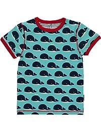 Maxomorra Jungen T-Shirt Kurzarm Hellblau Walfisch Hai Biobaumwolle GOTS