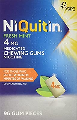 NiQuitin 2 mg Fresh Mint Gum - 96 Pieces of Gum per Pack from Omega Pharma