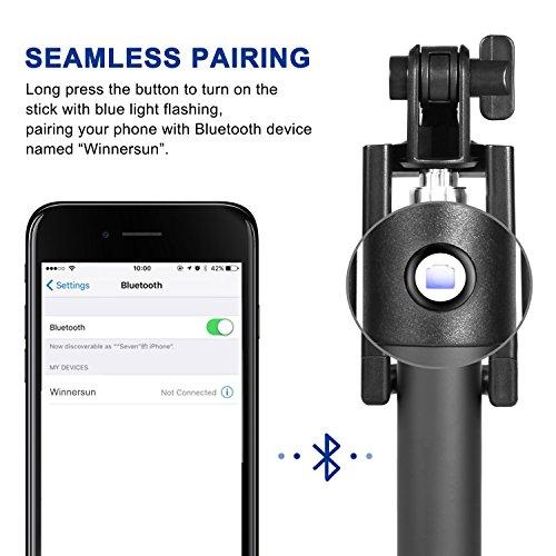 Bluetooth Selfie Stick, TOPLUS Selfiestick für alle handys bluetooth Selfie-Stange erweiterbar für iPhone 6s 6 5, Galaxy, Nexus und andere Smartphones (Schwarz) - 3