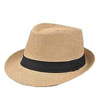 Leisial Sombrero de Jazz Playa Paja Panama Estilo Británico Deporte al Aire Libre Gorro del Sol Sombrero Modelos de Pareja para Hombre Mujer