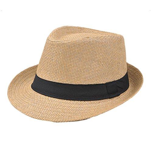 aikesi Hut Cap klassischen britischen Stil Hut Strand Sommer-Outdoor Cap Stroh eine Vielzahl von Stilen 56-58CM kaki (Cap Outdoor-basis)