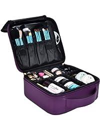 DTBG Mochila de Maquillaje profesional Bolsa de Maquillaje impermeable para Hombres y Mujeres Organizador de Cosméticos portátil Estuche para viaje Bolso de Cosméticos con divisores bolsillos,Violeta