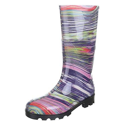 Damen Schuhe, GST-F901P, REGENSTIEFEL GUMMISTIEFEL Pink Lila 24