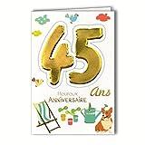 Age Mv 69-2033 Carte Anniversaire 45 ans Homme Femme motif Jardinage Plantes Arrosoir...