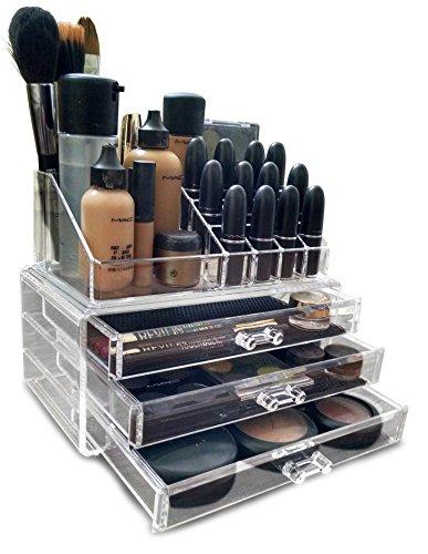 Oi LabelsTM Trasparente acrilico Make-Up / Cosmetico / Gioielleria / Nail Polish Organizzatore Espositore (con alto grado 3mm acrilico). Scatola Regalo