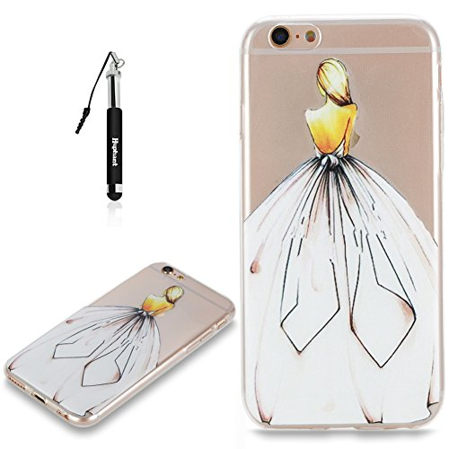 Coque iPhone 6S Case Silicone Chat,Huphant Etui pour telephone avec TPU Silicone Cas iPhone 6 Housse Crystal with Coque couleurs for iPhone 6S Etui silicone TPU Flamant Fleurs Datura Fille Pissenlit P Elegant fille