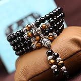 Hombres y mujeres 108 cuentas de múltiples anillos pulsera de obsidiana moda tendencia pulseras joyas
