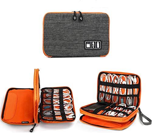 Jelly Comb Kabel Organizer Tasche, Elektronik Organizer Reise Kable Tasche für Kable, Handy, Mini-Tablet (iPad 7.9\'\') und mehr-Mittel (Orange und Grau)