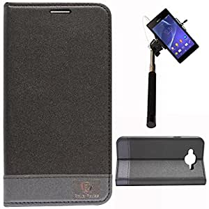DMG PopularRaiders Premium Magnetic Wallet Flip Cover Stand Case for Samsung Galaxy J7 J700 (Black) + Selfie Stick Monopod with Aux (No Battery Needed)