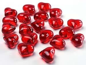 SiDeSo® Dekosteine Herzen rot 30 Stück Acryl Tischdeko Streudeko Hochzeit