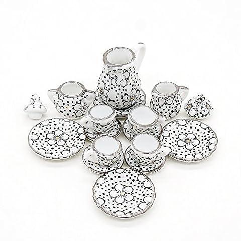 Odoria 1/12 Miniatur Geschirr 15 Stück Porzellan Pflaumenblüte Teeservice Set Für Puppenhaus Küche (Porzellan Spielzeug)