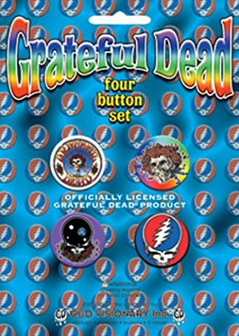 "GRATEFUL DANKBAR DEAD Skull Schädel/Rose/Logo 4 Piece StückAssorted gemischtGDP Inc. Button Taste Set, Officially Licensed Products Classic Rock Assorted gemischtArtwork KunstwerkButton Taste Set - 1"" Each jeder"