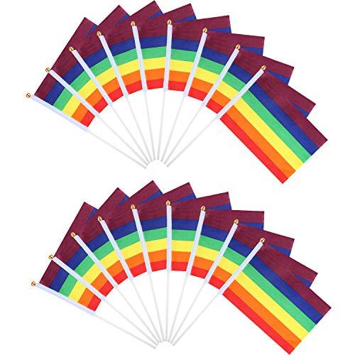 egenbogen Festival Fahnen Regenbogen Party Dekorative Banner Fahnen Hand Gehaltenen Mini Stick Fahnen für Motto Party ()