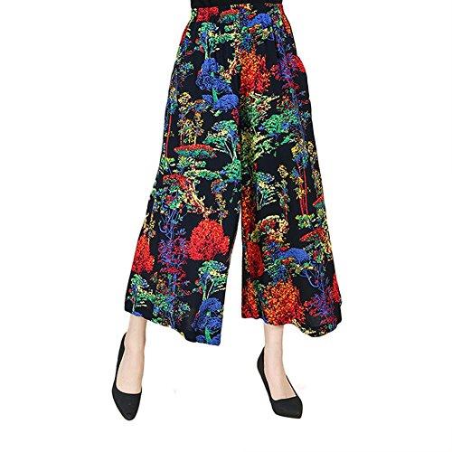 NJunicorn Uncle Damen Bequem Elastische Taille Baumwolle&Leinen Hosenrock Weite Bein Blumenmuster Lange Hose Pumphose Schlabberhose (Hohe Weites Leinen Bein Hose Taille)