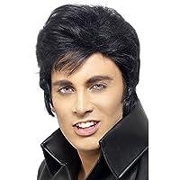 NET TOYS Parrucca da Elvis con capelli neri corti costumi e accessori da  rockstar 1615990d07c9