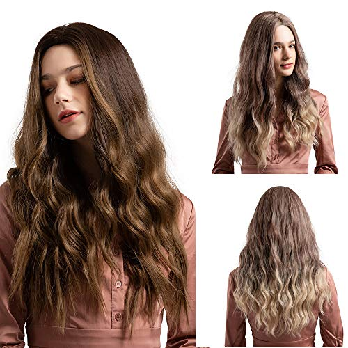 (Rifuli® Perrücke Synthetische Perücken für Frauen Natürliche lose Wellenhaar 26 Zoll braune lange Perücken Lange Haare Perücke)