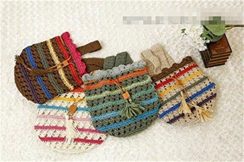Donne Handmade Vintage Stringa Coulisse Spalla Maglia Della Borsa Dello Zaino Colore Marrone