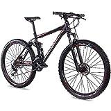 CHRISSON 29 Zoll Mountainbike Fully - Hitter FSF schwarz rot - Vollfederung Mountain Bike mit 30 Gang Shimano Deore Kettenschaltung - MTB Fahrrad für Herren und Damen mit Rock Shox Federgabel