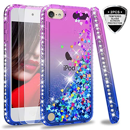LeYi Hülle iPod Touch 7th / 6th / 5th Glitzer Handyhülle mit Panzerglas Schutzfolie(2 Stück),Cover Diamond Bumper Schutzhülle für Case iPod Touch 7th 6th 5th Handy Hüllen ZX Gradient Purple Blue