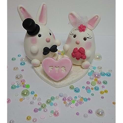 figuras kawaii porcelana fria Personalizados de la torta para la boda, boda, adorno para boda, Novios Conejo - Coneja Pastel, Figuras de novios de la tarta hecha a mano