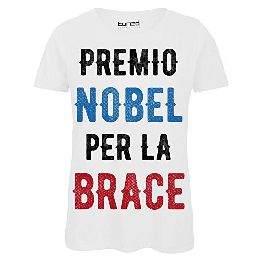 Chemagliette! maglietta donna t-shirt divertente con stampa ironica premio nobel per la brace tuned, colore: bianco, taglia: l