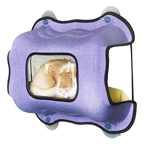 Xdyff amaca per gatti da finestra gatto super power ventosa tipo nido suntan letto a parete davanzale in vetro letto nido gatto,purple