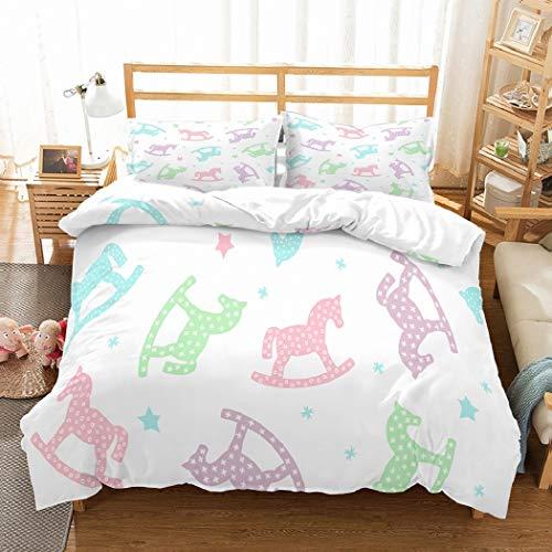 MOUMOUHOME Scherzt Karikatur Bettwäsche 3D Pink/Grün/Blau/Lila Schaukelpferd Tagesdecke Drucke Weiß Bettbezug Set,2 Stück mit 1 Bettbezug 2 Kissenbezug,Keine Bettdecke - Und Tröster Grün Lila