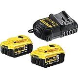 DeWalt Akku-Starter-Kit (inkl. Schnellladegerät und 2 XR Li-Ion Akkus, kein Memory-Effekt der Akkus, Überlastungsschutz, lange Laufzeit, bruchsicheres Gehäuse, Ladezustandsanzeige) DCB115P2