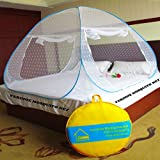 #2: Verdioz White Embroidery Poly Cotton FOLDABLE Mosquito Net (Double Bed) with 3 FREE SAVIOURS - Blue