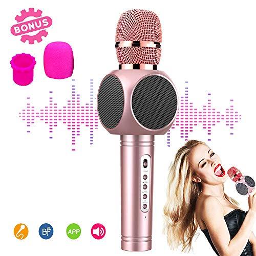 Kinder Mikrofon Karaoke Kabellos - Tragbarer kabelloser Microphone Karaoke Player Lautsprecher für ios Iphone Android Smartphone, Heim KTV Muis Party im Freien, Mit Aufnahmefunktion Rosegold