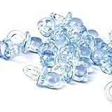 50x Mini Ciuccio Acrilico Bomboniere Feste Nascita Decorazioni decorazione tavolo battesimo nascita compleanno bimbo ciucciotti piccoli ciuccetti per bomboniere, blu