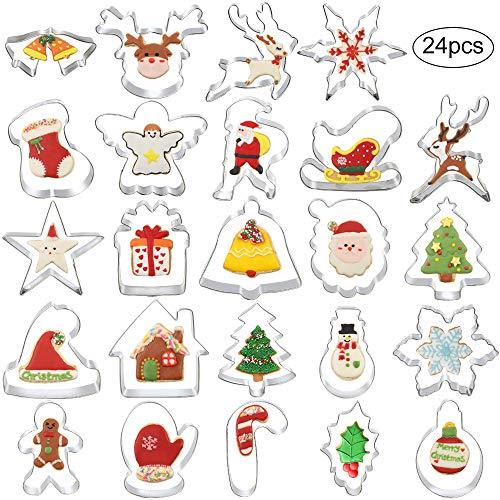AKRCHEFT 24 Stück Ausstecher Set aus Edelstahl für Weihnachten, Ausstechformen Keksausstecher Plätzchen Form mit feiner Geschenkbox - Weihnachtsbaum, Weihnachtsmann, Rentier, Weihnachtsstrümpfe, Glock