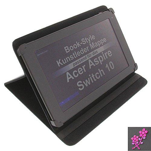 foto-kontor Tasche Strass Blume für Acer Aspire Switch 10 Iconia Tab 10 Book Style Schutz Hülle Buch schwarz